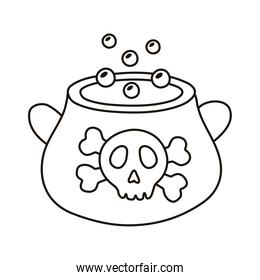 witch cauldron pot with skull stamp line style icon