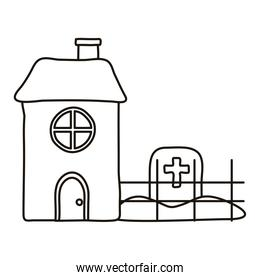 cemetery tomb with cross in house line style icon