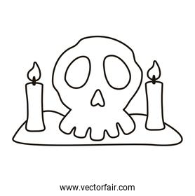 halloween head skull and candles line style icon