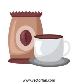 coffee ceramic cup drink and bag icon