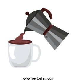 coffee kettle and cup utensils flat style icon