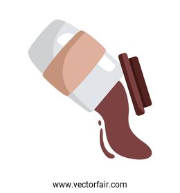 coffee spilling in plastic container flat style icon