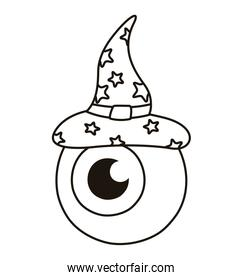 halloween eye with witch hat line style icon