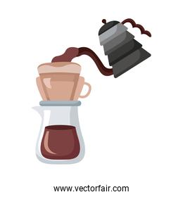 coffee kettle and teapot utensils flat style icon