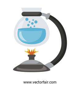 teapot glass with water in burner icon