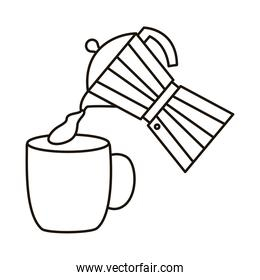 coffee kettle and cup utensils line style icon