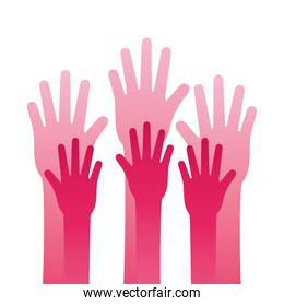 hands human stop pink silhouette style icon