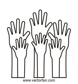 hands human stop silhouette style icon