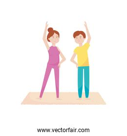 young couple together practicing yoga, activity indoor