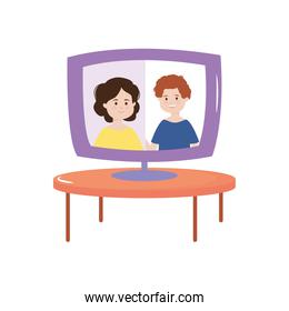 couple in video computer on round table activity indoors