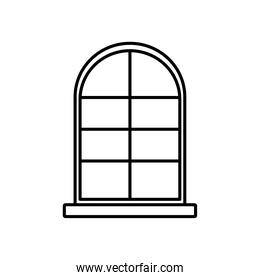 frame window exterior facade icon isolated white background linear