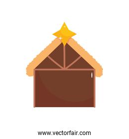 nativity manger stable with bright star