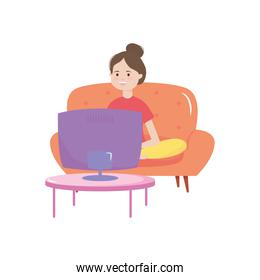 woman sitting on chair looking tv, activity indoor