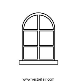 frame window exterior facade isolated white background linear