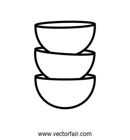pile of coffee cups isolated icon white background linear