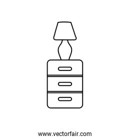 furniture drawers with lamp decoration linear
