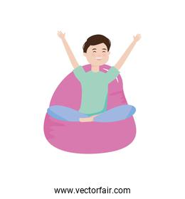 young man sitting on bean chair happy character