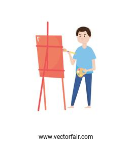 man painting with brush and canvas isolated design