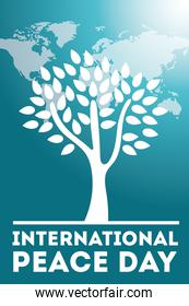 International Day of Peace lettering with tree and world maps