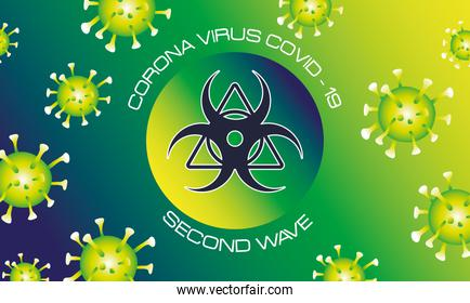 corona virus second wave poster with green particles and biohazard signal