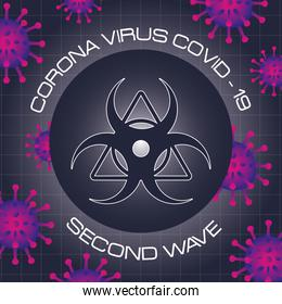 corona virus second wave poster with purple particles and biohazard signal