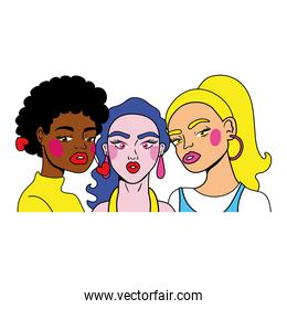 interracial group of girls fashion pop art style