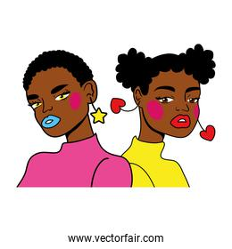 afro girls couple fashion pop art style