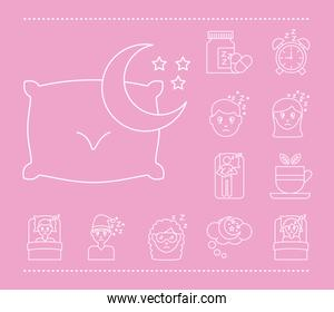 sheep with bundle of Insomnia line  style icons