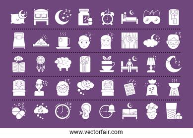 bundle of Insomnia silhouette style icons
