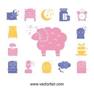 sheep with bundle of Insomnia silhouette style icons