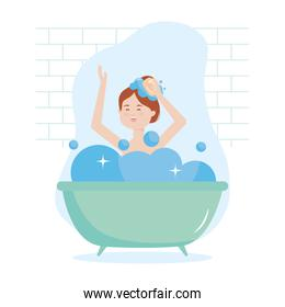 stay safe, happy woman bathing, during covid 19 quarantine