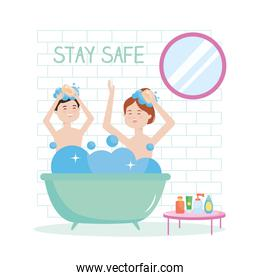 stay safe, happy couple bathing, during covid 19 quarantine