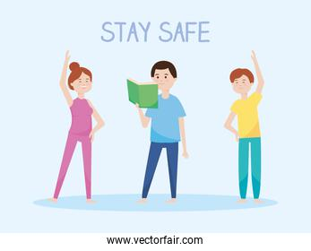 stay safe, people reading a book, practicing exercises during covid 19 quarantine