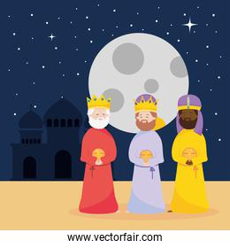 nativity, manger three wise kings with gifts in the night