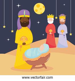 nativity, manger baby jesus and three wise kings with gifts in the night