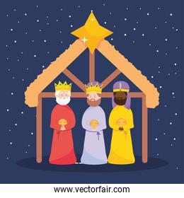 nativity, manger three wise kings characters in the stable with star