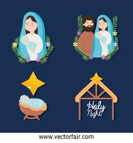 nativity, manger joseph mary baby jesus star and stable icons