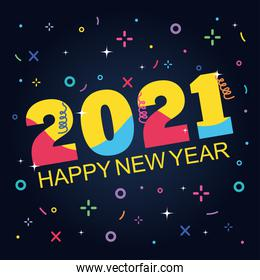2021 happy new year colored numbres calendar memphis geometric black background