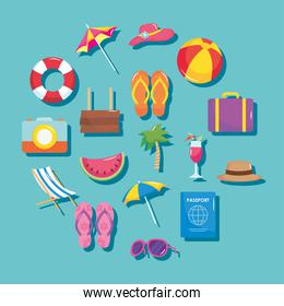 summer vacation travel, set icons include suitcase palm cocktail passport sunglasses hat and more