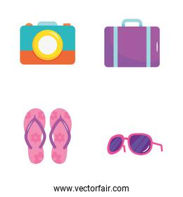 summer vacation travel, icons flip flops, suitcase, sunglassers and camera