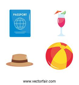 summer vacation travel, set icons passport cocktail beach ball and hat