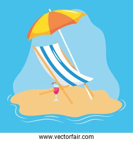 summer vacation travel, deck chair with umbrella and cocktail in the beach sand