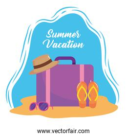 summer vacation travel, suitcase with hat flip flops and sunglasses