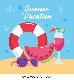 summer vacation travel, float watermelon cocktail and sunglasses