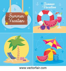 summer vacation travel, banners season vacations with float palm hat chair board design