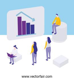 people business chart decrease chart report planning