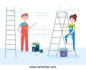 painters couple with ladder bucket paint roller brush wall remodeling