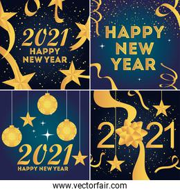 2021 happy new year golden text numbers balls star and confetti celebrate party