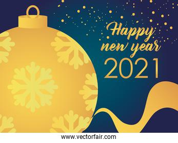 2021 happy new year golden ball snowflakes ribbon and sprinkles decoration