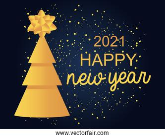 2021 happy new year golden pine tree with bow and glitter decoration card